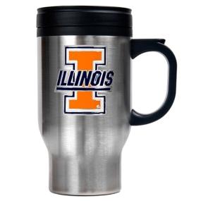 Illinois Fighting Illini 16oz Stainless Steel Travel Mug