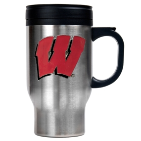 Wisconsin Badgers 16oz Stainless Steel Travel Mug