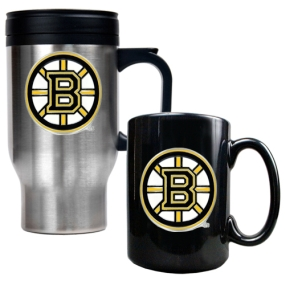 Boston Bruins Stainless Steel Travel Mug & Black Ceramic Mug Set