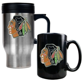 Chicago Blackhawks Stainless Steel Travel Mug & Black Ceramic Mug Set