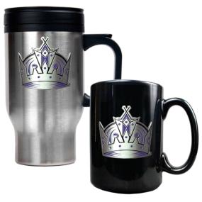 Los Angeles Kings Stainless Steel Travel Mug & Black Ceramic Mug Set