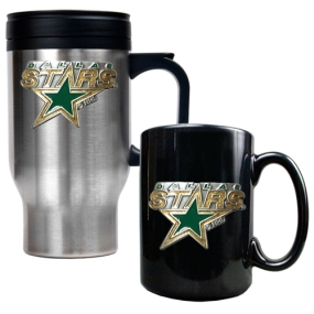 Dallas Stars Stainless Steel Travel Mug & Black Ceramic Mug Set