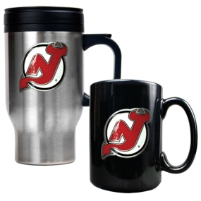 New Jersey Devils Stainless Steel Travel Mug & Black Ceramic Mug Set