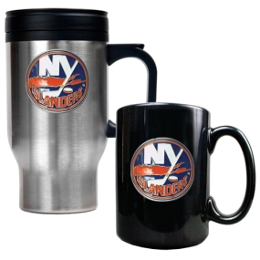 New York Islanders Stainless Steel Travel Mug & Black Ceramic Mug Set