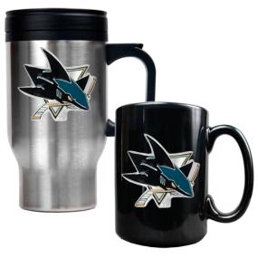 San Jose Sharks Stainless Steel Travel Mug & Black Ceramic Mug Set