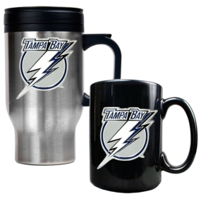 Tampa Bay Lightning Stainless Steel Travel Mug & Black Ceramic Mug Set