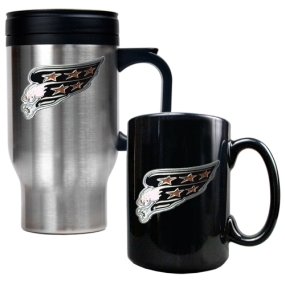 Washington Capitals Stainless Steel Travel Mug & Black Ceramic Mug Set