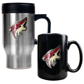 Phoenix Coyotes Stainless Steel Travel Mug & Black Ceramic Mug Set