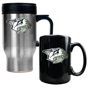 Nashville Predators Stainless Steel Travel Mug & Black Ceramic Mug Set