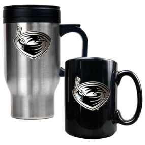 Atlanta Thrashers Stainless Steel Travel Mug & Black Ceramic Mug Set