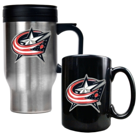 Columbus Blue Jackets Stainless Steel Travel Mug & Black Ceramic Mug Set