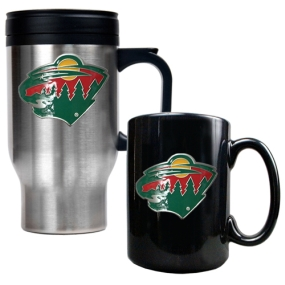 Minnesota Wild Stainless Steel Travel Mug & Black Ceramic Mug Set