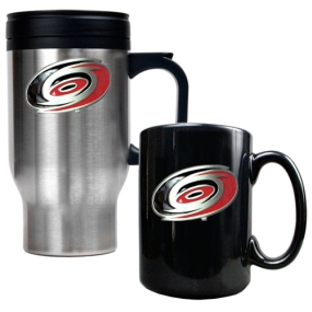 Carolina Hurricanes Stainless Steel Travel Mug & Black Ceramic Mug Set