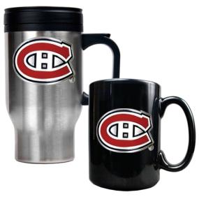 Montreal Canadiens Stainless Steel Travel Mug & Black Ceramic Mug Set