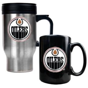 Edmonton Oilers Stainless Steel Travel Mug & Black Ceramic Mug Set