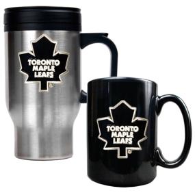 Toronto Maple Leafs Stainless Steel Travel Mug & Black Ceramic Mug Set
