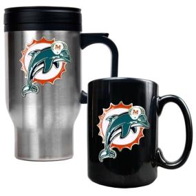 Miami Dolphins Travel Mug & Ceramic Mug set