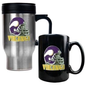 Minnesota Vikings Travel Mug & Ceramic Mug set