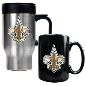 New Orleans Saints Travel Mug & Ceramic Mug set