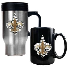 New Orleans Saints Travel Mug & Ceramic Mug set