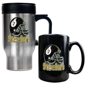 Pittsburgh Steelers Travel Mug & Ceramic Mug set