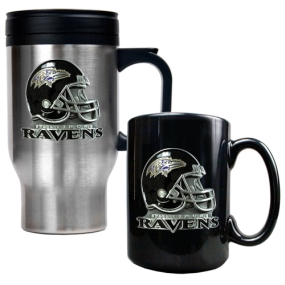 Baltimore Ravens Travel Mug & Ceramic Mug set