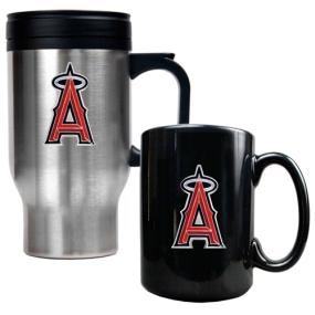 Anaheim Angels Stainless Steel Travel Mug & Black Ceramic Mug Set