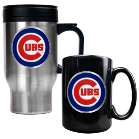 Chicago Cubs Stainless Steel Travel Mug & Black Ceramic Mug Set