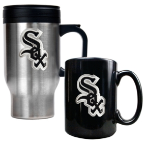Chicago White Sox Stainless Steel Travel Mug & Black Ceramic Mug Set
