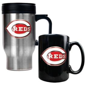 Cincinnati Reds Stainless Steel Travel Mug & Black Ceramic Mug Set