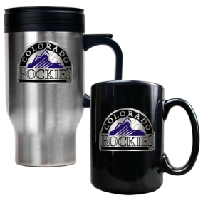 Colorado Rockies Stainless Steel Travel Mug & Black Ceramic Mug Set