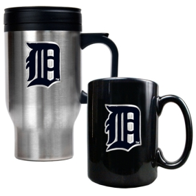 Detroit Tigers Stainless Steel Travel Mug & Black Ceramic Mug Set