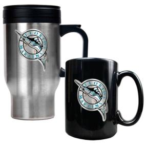 Florida Marlins Stainless Steel Travel Mug & Black Ceramic Mug Set