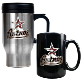 Houston Astros Stainless Steel Travel Mug & Black Ceramic Mug Set