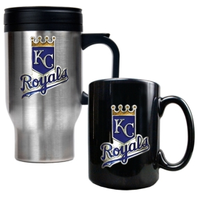 Kansas City Royals Stainless Steel Travel Mug & Black Ceramic Mug Set