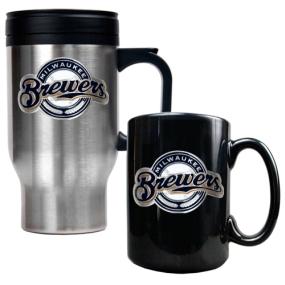 Milwaukee Brewers Stainless Steel Travel Mug & Black Ceramic Mug Set