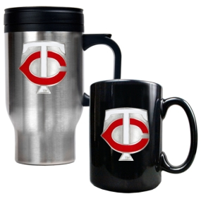 Minnesota Twins Stainless Steel Travel Mug & Black Ceramic Mug Set