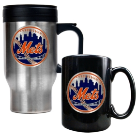 New York Mets Stainless Steel Travel Mug & Black Ceramic Mug Set