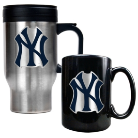 New York Yankees Stainless Steel Travel Mug & Black Ceramic Mug Set