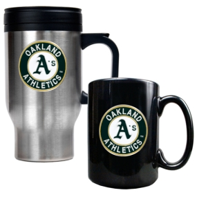 Oakland A's Stainless Steel Travel Mug & Black Ceramic Mug Set