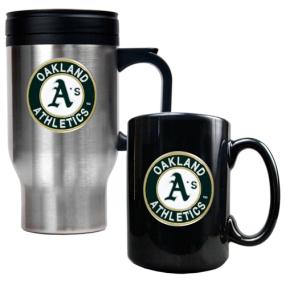 Oakland A's Stainless Steel Travel Mug & Black Ceramic Mug Set