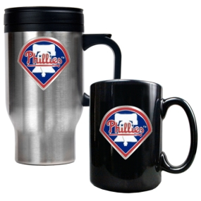 Philadelphia Phillies Stainless Steel Travel Mug & Black Ceramic Mug Set