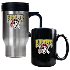 Pittsburgh Pirates Stainless Steel Travel Mug & Black Ceramic Mug Set