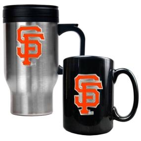 San Francisco Giants Stainless Steel Travel Mug & Black Ceramic Mug Set