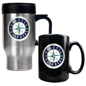 Seattle Mariners Stainless Steel Travel Mug & Black Ceramic Mug Set
