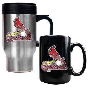 Saint Louis Cardinals Stainless Steel Travel Mug & Black Ceramic Mug Set