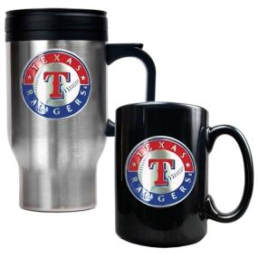 Texas Rangers Stainless Steel Travel Mug & Black Ceramic Mug Set