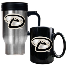 Arizona Diamondbacks Stainless Steel Travel Mug & Black Ceramic Mug Set