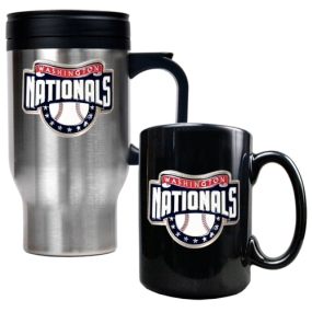 Washington Nationals Stainless Steel Travel Mug & Black Ceramic Mug Set