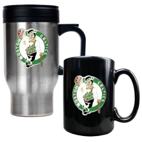 Boston Celtics Stainless Steel Travel Mug & Black Ceramic Mug Set